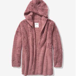 NWT PINK Victoria's Secret Sherpa Cardigan M/L